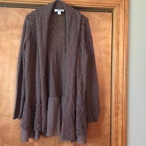 Cardigan stylish brown sweater.